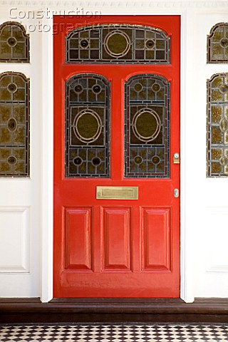 Stained glass in red door