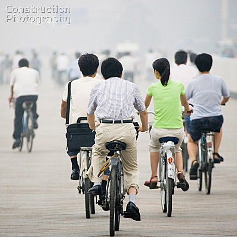 Chinese people cycling
