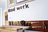 The wood working corner in a primary school