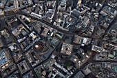 Aerial view of City of London at dusk. 30 St Mary Axe, Lloyds Building, Leadenhall Street