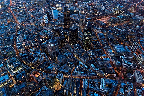 Aerial view of City of London at Night UK