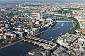 Aerial view of Southbank, River Thames
