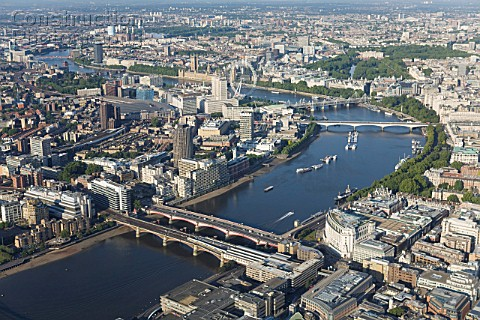 Aerial view of Southbank River Thames