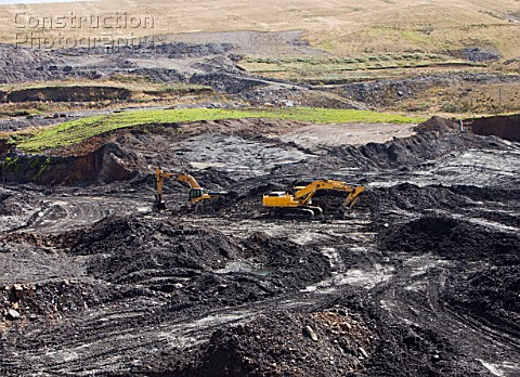 The Glentaggart open cast coal mine in Lanarkshire Scotland UK As well as the disastrous climate cha