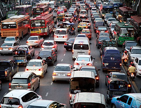 Thailand Bangkok rush hour traffic jam urban congestion