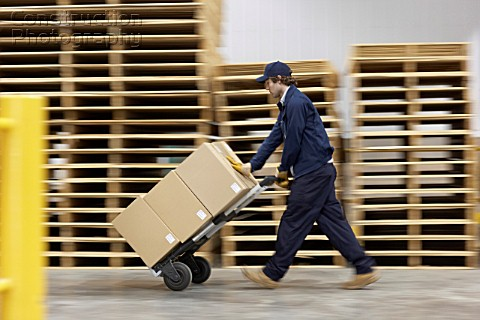 Worker pushing trolley in warehouse