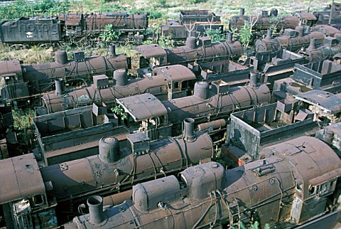 Locomotive Graveyard The huge dump of Greek Steam Locomotives at Thessaloniki contained many histori