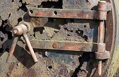 Rusted smokebox of an Andrew Barclay Saddle Tank at Thomas Muirs scrapyard in Fife